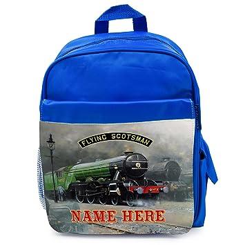 35b9cb4a5276 Personalised School Bag FLYING SCOTSMAN STEAM TRAIN Boys Backpack Book Kids  Rucksack - Blue FST01