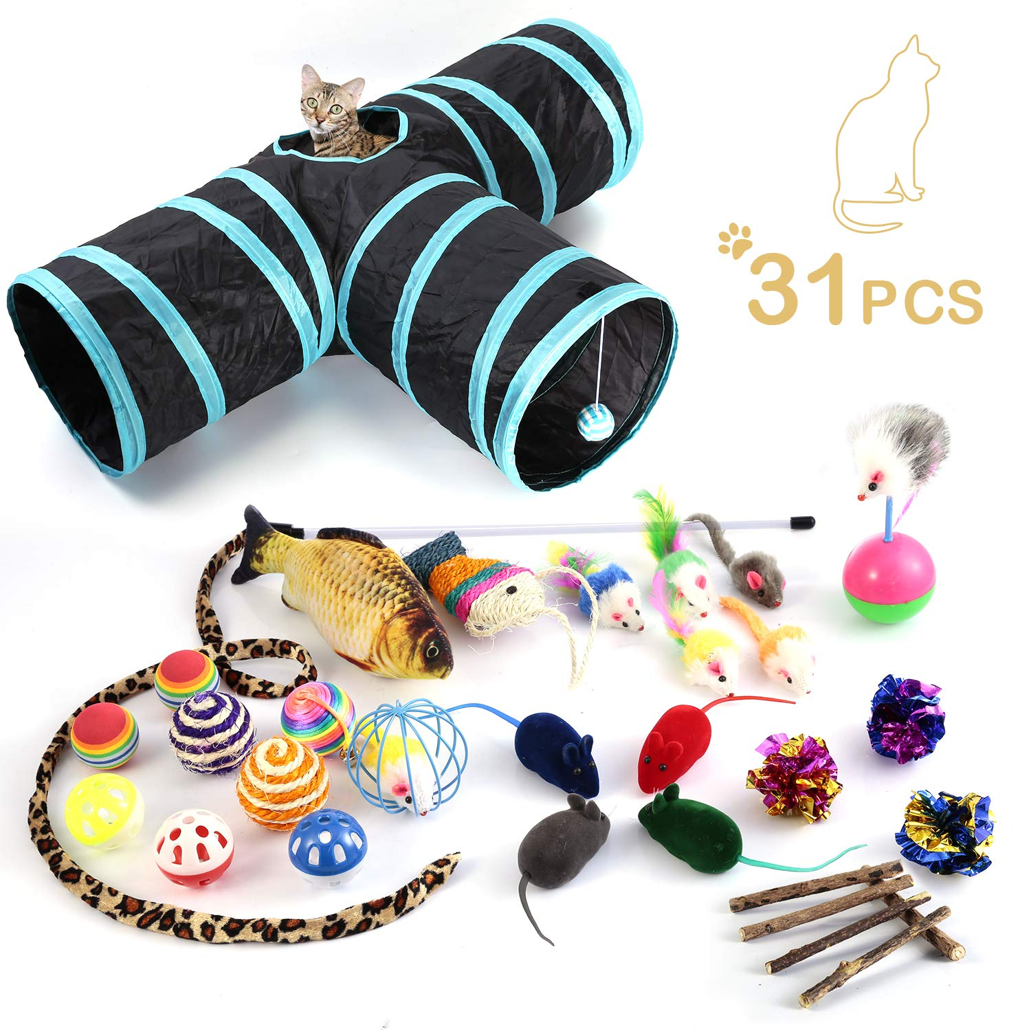 WERTYCITY Cat Toys Variety Pack, Including 3 Way Tunnel with Ball, Teaser Wand, Interactive Feather Toy, Fluffy Mouse, Crinkle Balls, Catnip Fish for Kitty, Puppy, Rabbit. Multicolor (25pcs) by WERTYCITY