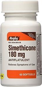 Rugby Simethicone 180mg Softgels Anti-Gas, 60 Softgels, (2 Pack)