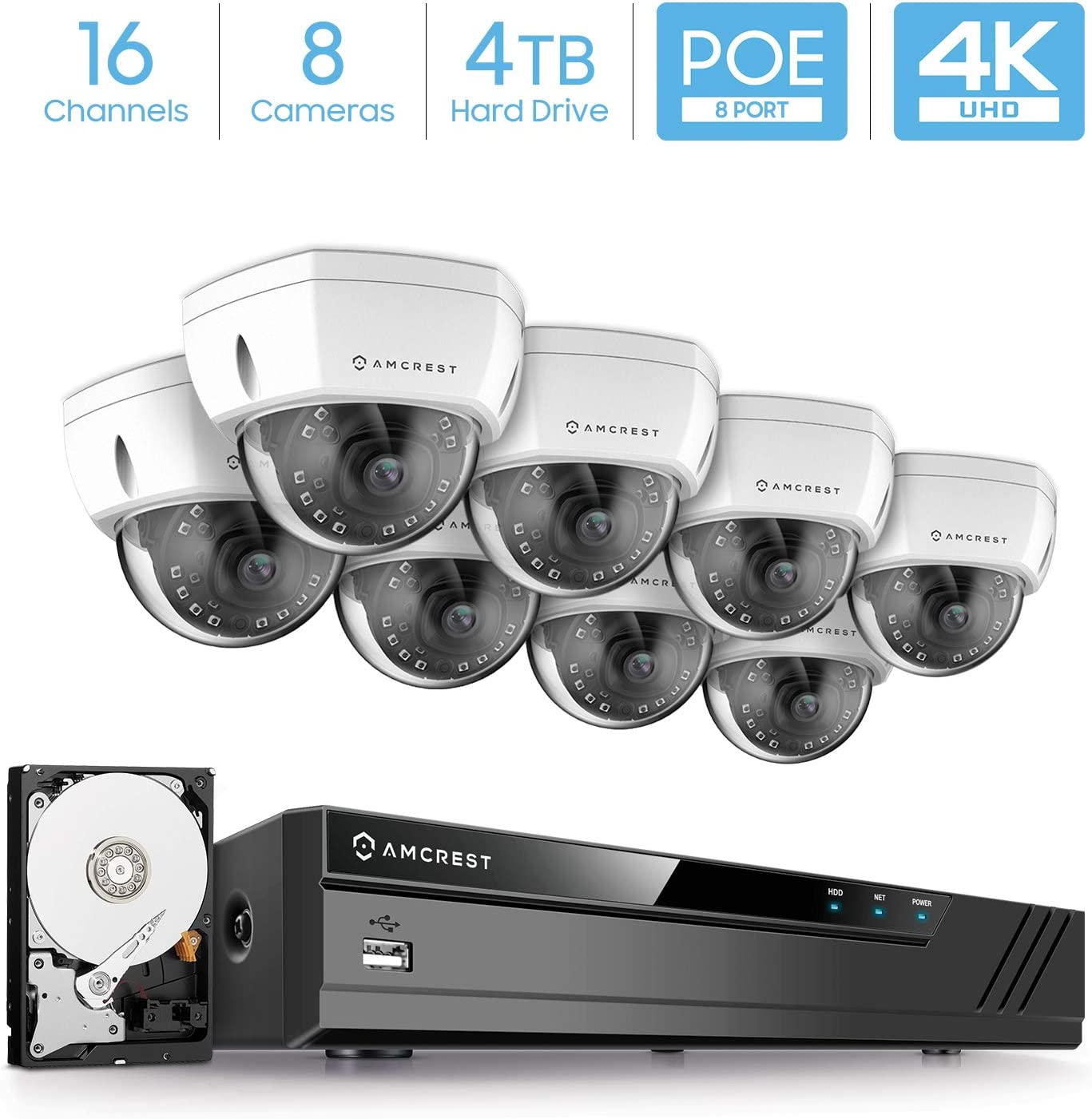Amcrest 16CH 4K Security Camera System w 4K 8MP NVR, 8 x 4K 8-Megapixel IP67 Weatherproof Dome POE IP Cameras 3840×2160 , 2.8mm Wide Angle Lens, Pre-Installed 4TB HDD, 98ft Nightvision White