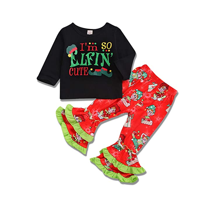 7d8ec67ea886 Unmega Toddler Baby Girl Christmas Clothes Elf Long Sleeve Shirt + Flare  Pants (Black,