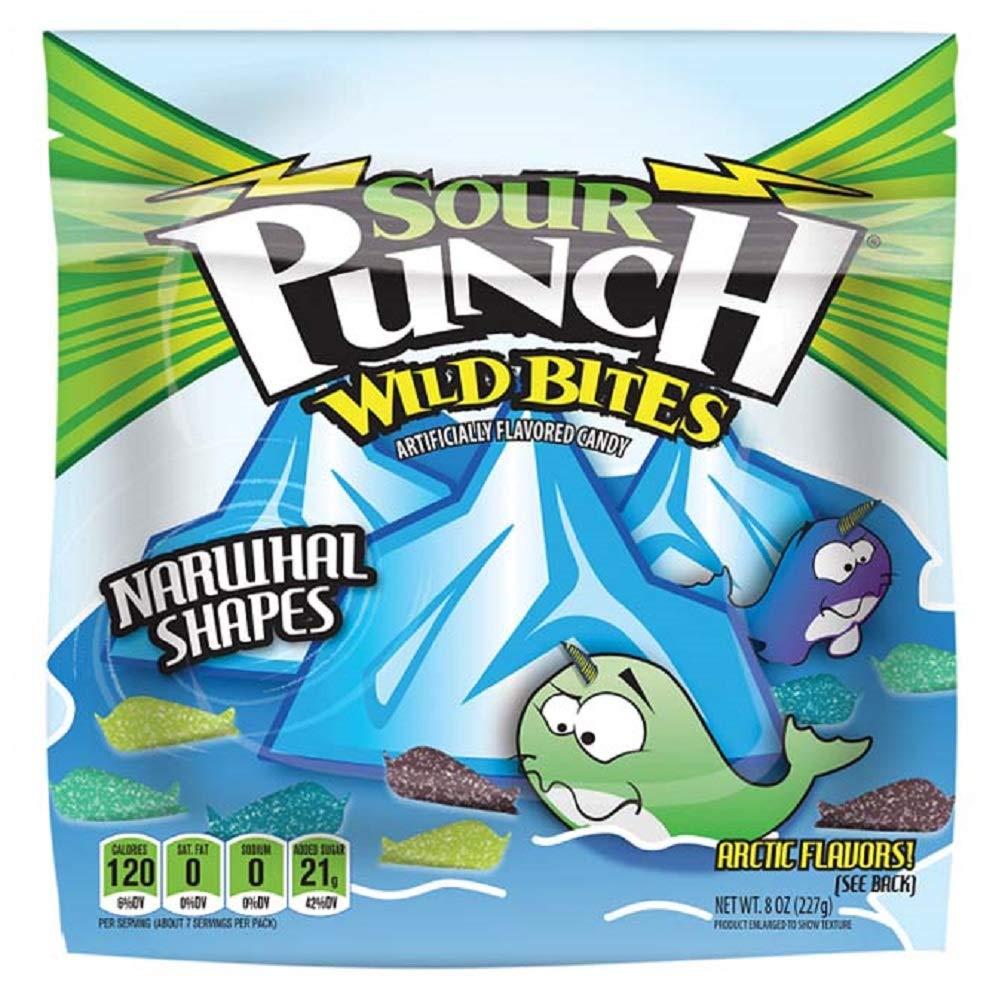Sour Punch Bites, Chewy Sour Candy, Wild Narwhal Shapes, 4 Assorted NEW Flavors, 8oz Bag, 12 Count by Sour Punch
