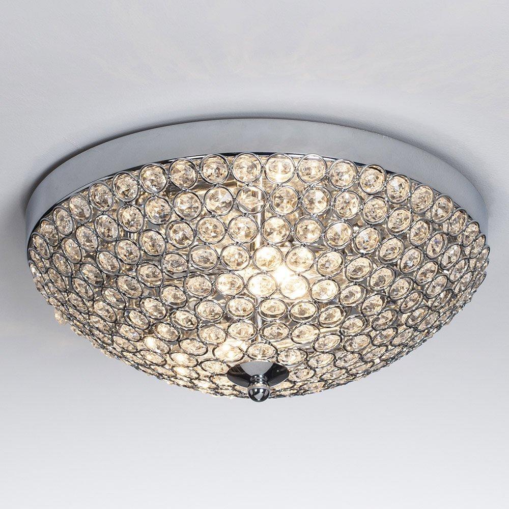 SOTTAE Elegant 2 Lights Bowl Shaped Mondern Crystal Shade Chrome Finish Bedroom Living Room Hallway Kids Room Crystal Chandelier, Ceiling Light In11.8''
