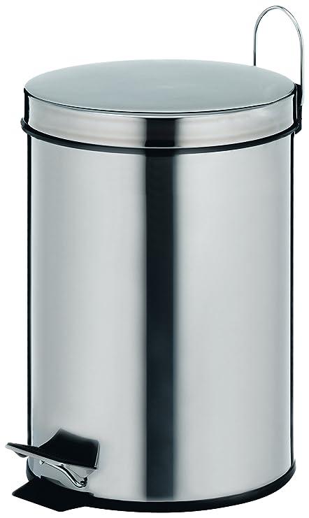 kela 18194 Knut - Papelera con Tapa oscilante para baño (Acero Inoxidable, 5 L)