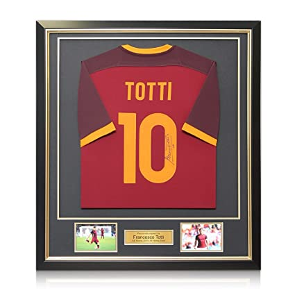 8bd21ce37 Image Unavailable. Image not available for. Color  Francesco Totti Signed  AS Roma 2015-16 Home Jersey In Deluxe Black ...