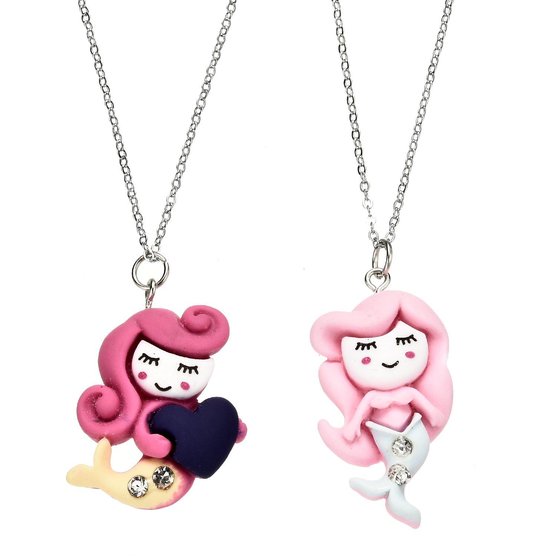 Oaonnea 2 PCS Best Friends Kids Necklace Set Foma