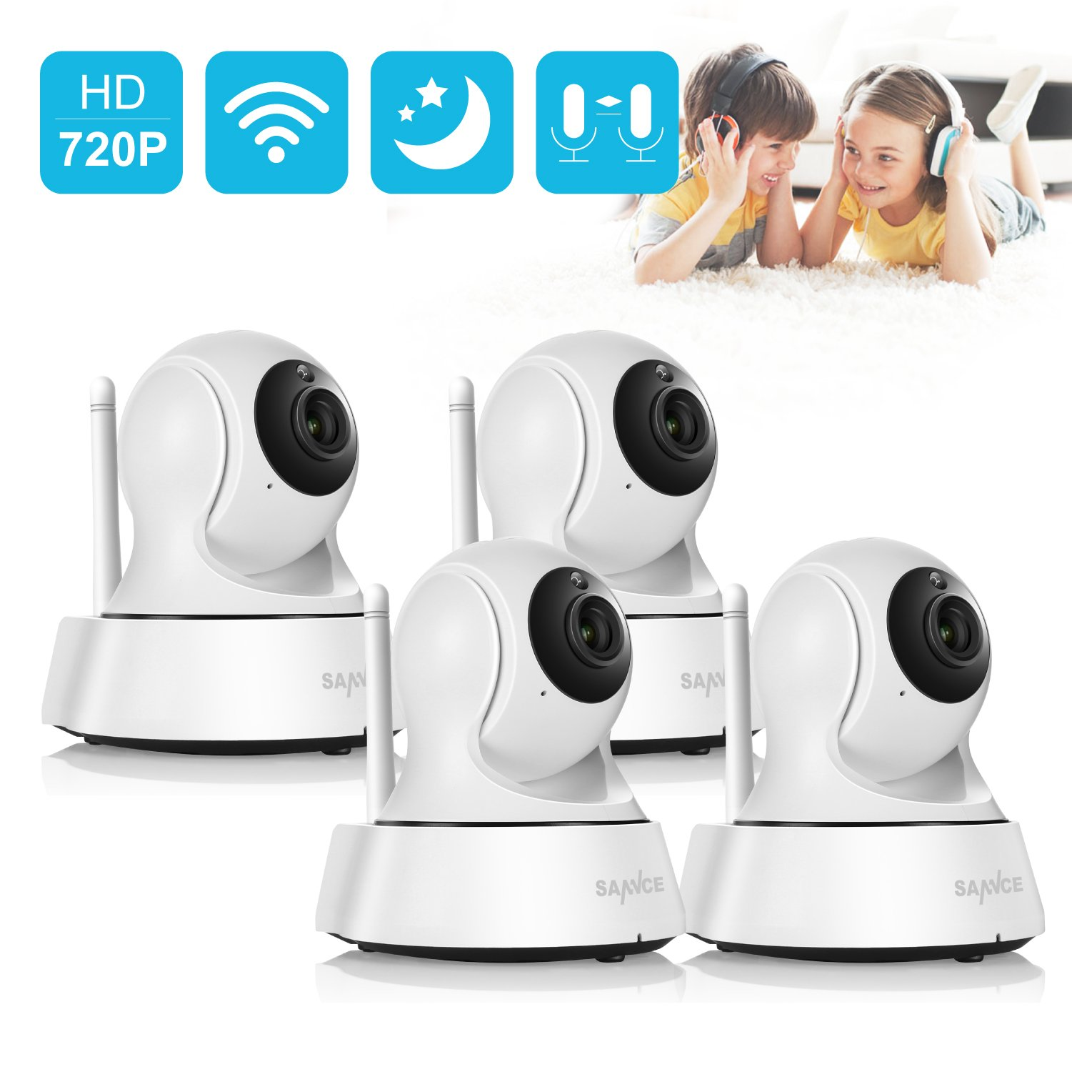 SANNCE HD Pan/Tilt Wireless WiFi IP Camera, 720P Security Camera with Two Way Audio, Night Vision/Memory Card Slot/Plug/Play for Baby/Elder/Pet/Nanny/Garage/Office Monitor(4 Pack, Black)