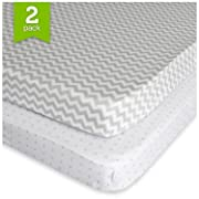 Pack N Play Playard Sheet Set (2 Pack) Fitted Jersey Knit Cotton Portable Mini Crib Sheets Grey Chevron, Dot by Ziggy Baby
