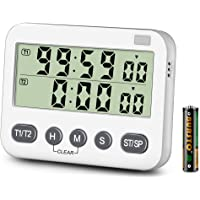 KTKUDY Dual Timer with 3-Level Adjustable Alarm Volume & ON/Off Switch Digital Kitchen Count Down/Up Stop Watches Interval Timer for Kids Teachers Cooking LCD Display Magnetic Back (Battery Included)