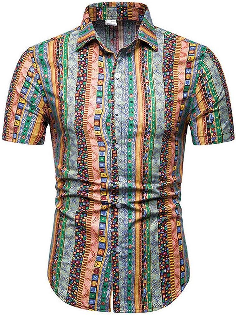Mens Summer Beach Hawaiian Shirt Short Sleeve Floral Shirts Casual Holiday Vacation Clothing