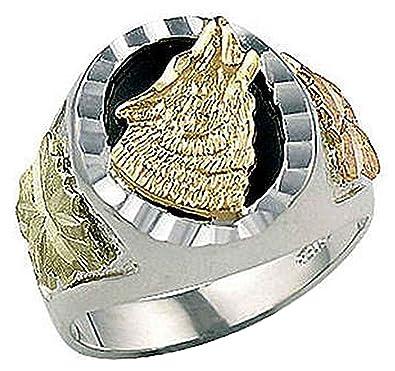 Landstroms Mens Sterling Silver yx Wolf Ring with 10K Black