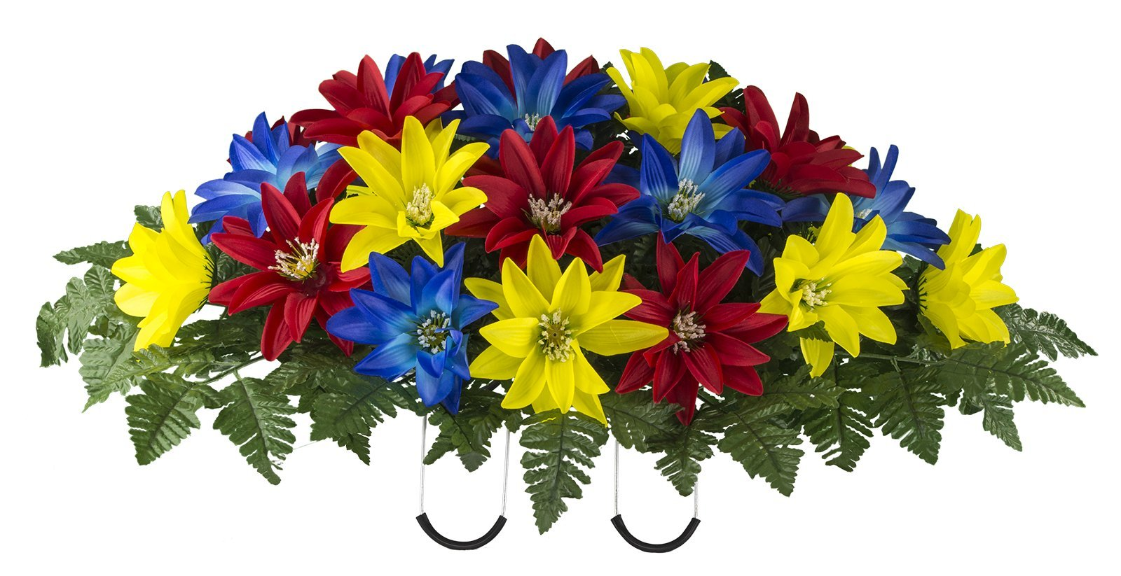 Red-Yellow-Blue-Dahlia-Mix-Artificial-Saddle-Arrangement-SD2135