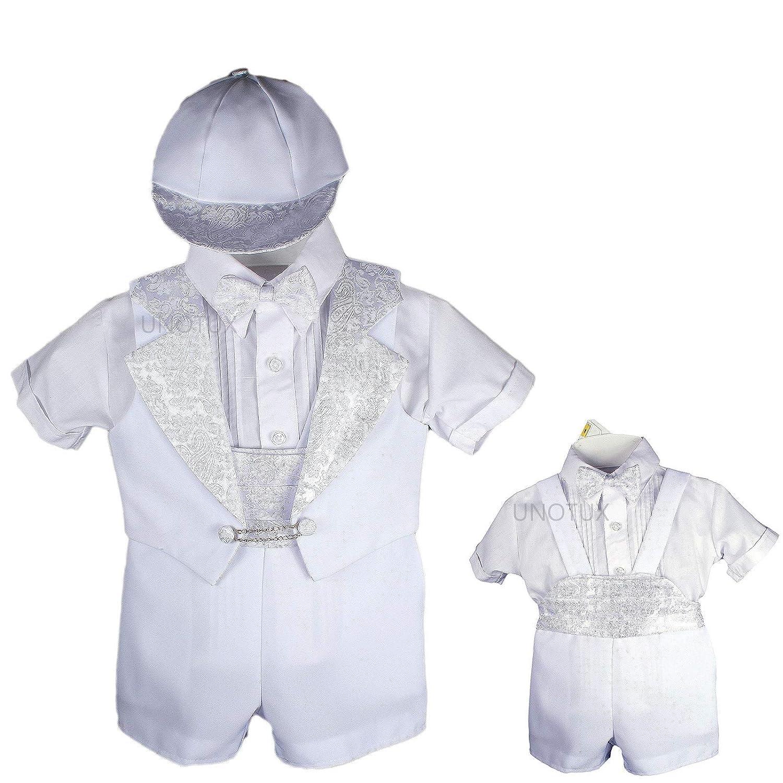 Baptism Christening Boy Formal Vest Set Shorts White Suit Gown Outfit Hat 0M-2T