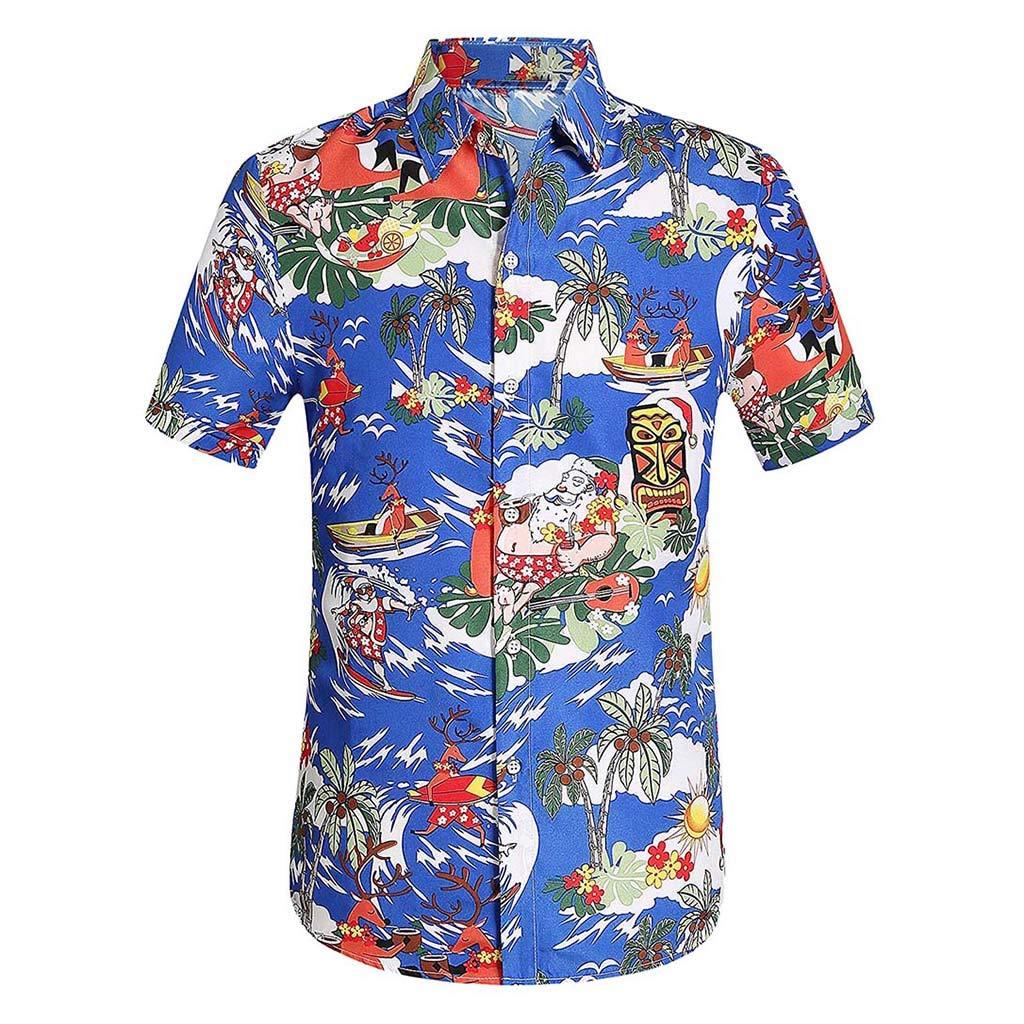 YOMXL Men's Hawaiian Top Summer Tropical Printed Button Down Shirt Casual Standard-Fit T-Shirt Short Sleeve Dark Blue by YOMXL