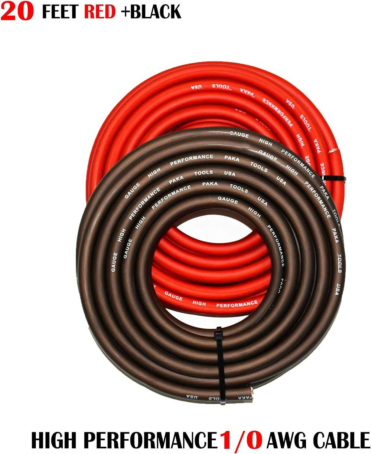 1//0 Gauge Wire RED//Black 10 FEET Black+10 FEET RED Amplifier Power//Ground Amp Wire