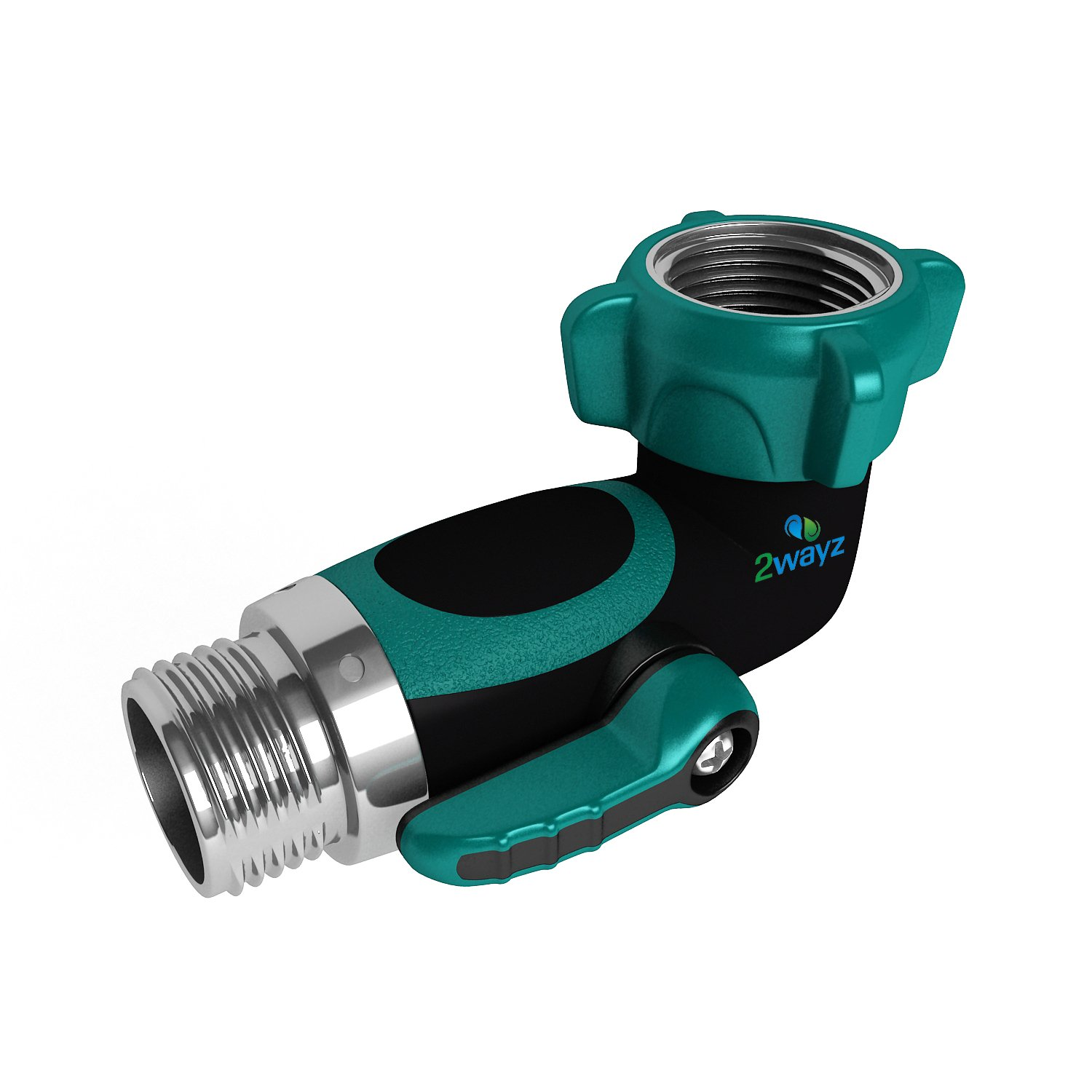 2wayz 90 Degree Garden Hose Elbow With Shut Off Valve. Free up space! Upgraded 2017 Full Metal Bolted and Threaded Spigot Extender. Perfect for RVs. Ergonomic, Lead Free, Family Safe Adapter