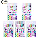 Self-adhesive Rhinestone Sticker, NIANPU Multicolor Bling Craft Jewels Crystal Gem Stickers, Assorted Size 5 sheets