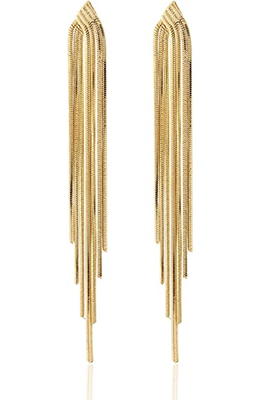 2fa036d45 Buy LoveyLovey LoveyLovey Long Drop Sleek Chain Tassel Earrings by Lovey  Lovey (Gold) Online at Low Prices in India | Amazon Jewellery Store -  Amazon.in