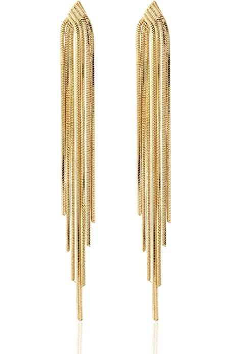 Vintage Style Jewelry, Retro Jewelry Long Drop Sleek Chain Tassel Earrings by Lovey Lovey $23.50 AT vintagedancer.com