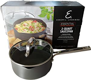Emeril Lagasse Nonstick Hard Anodized Versatile 2 Quart Cooking Sauce Pan with Easy Pour Spout and Straining Lid, Gray