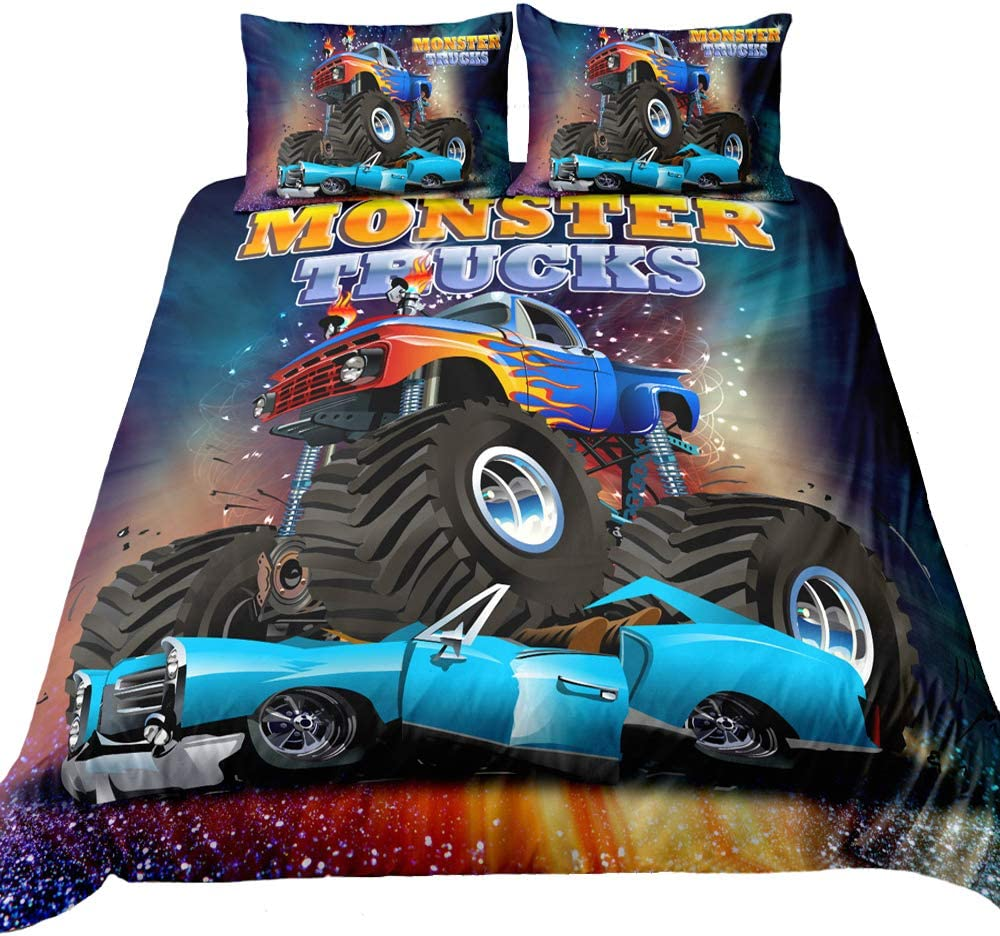 Suncloris,3D Monster Truck Home Bedding,Crushing on Car Freestyle Monster Truck Duvet Cover Sets.Included: Duvet Cover,Pillowcase(no Comforter Inside) (Queen)