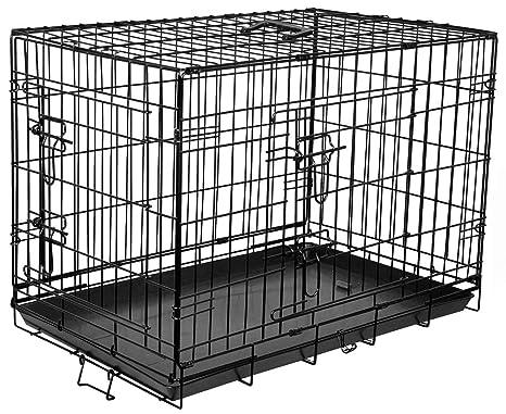 Flamingo Jaula con 2 Puertas para Perro Negro 63 x 43 x 49 cm
