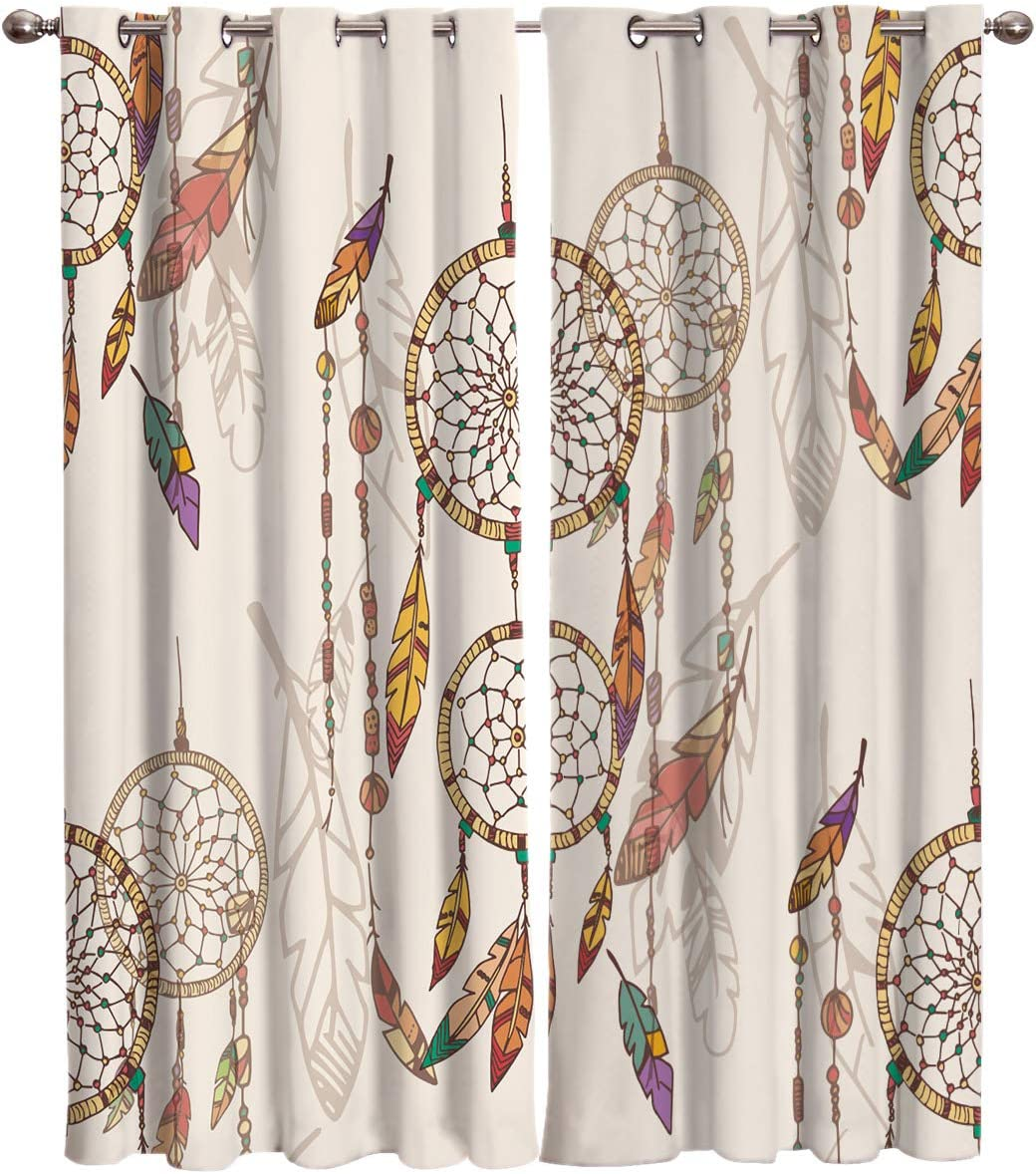 2 Panels Grommet Window Treatment Drapes 80 W x 63 L, Native American Dreamcatcher Magic Feathers Hippie Silhouette – Luxury Decoration Window Crutains for Bedroom Kitchen Office