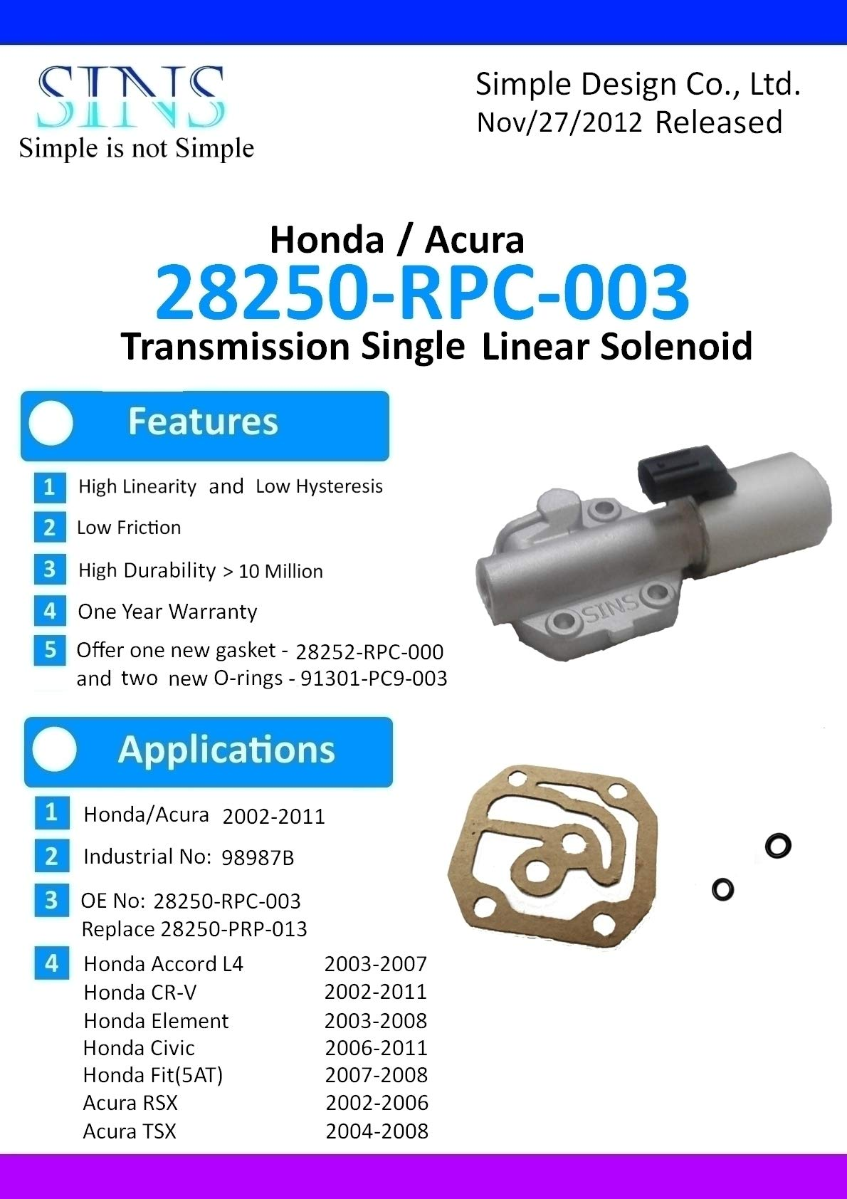 SINS - Accord CR-V Element Civic Fit RSX TSX Transmission AT Clutch Pressure Control Solenoid Valve A 28250-RPC-003 28250-PRP-013 by SINS (Image #6)