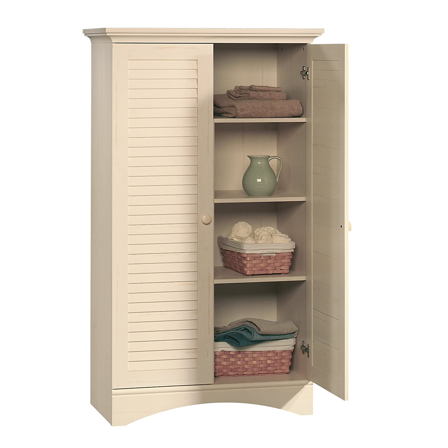 Sauder Kitchen Furniture Amazoncom Sauder Harbor View Storage Cabinet Antiqued White