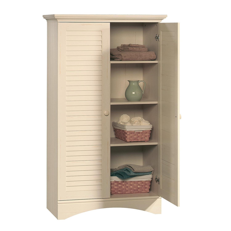 Sauder Kitchen Furniture Amazoncom Sauder Harbor View Storage Cabinet Antiqued White