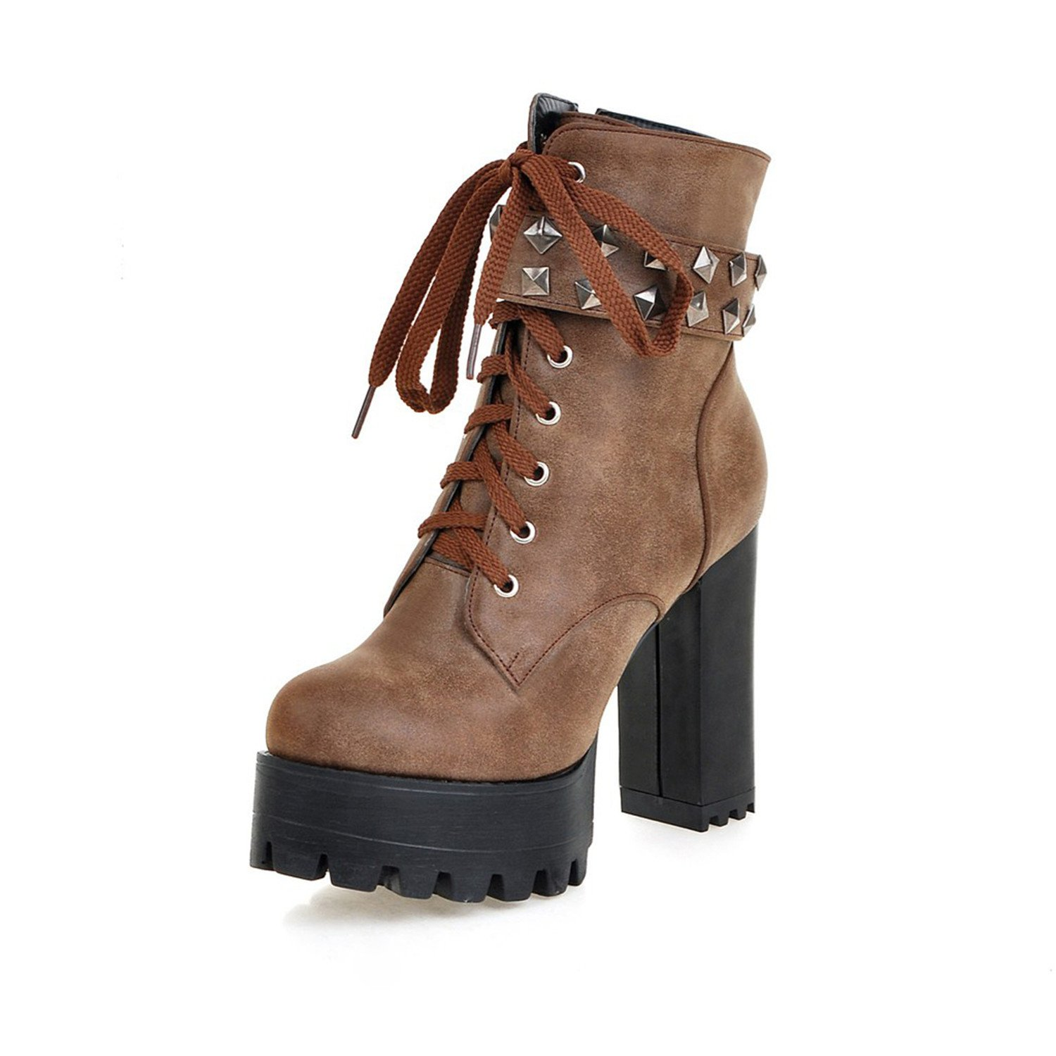 Odetina Women's Sexy Lace-up Zipper Buckle Strap Chunky High Heel Platform Mid Calf Punk Boots with Rivet Stud B07BKV5NFS 11.5 (B)M US|Brown&x-7