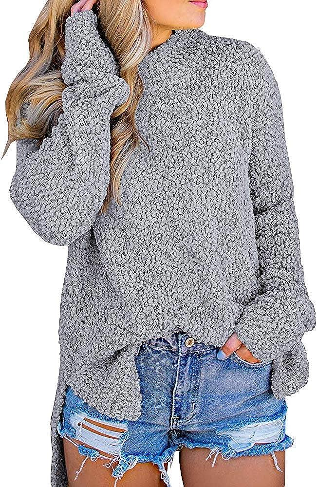 MEROKEETY Women's Long Sleeve Sherpa Fleece Knit Sweater Side Slit Pullover Outwears