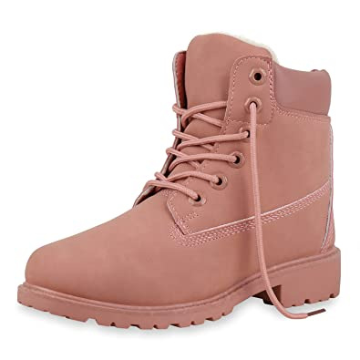 b43cc8209165b4 SCARPE VITA Damen Stiefeletten Warm Gefütterte Worker Boots Outdoor Schuhe  153943 Rosa Warm Gefüttert 36