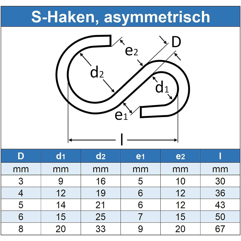Eisenwaren2000 Edelstahl-Haken A4 V4A - Symmetrisch L = 32 mm S-Haken rostfrei Kleiderhaken 5 St/ück D = 4 mm