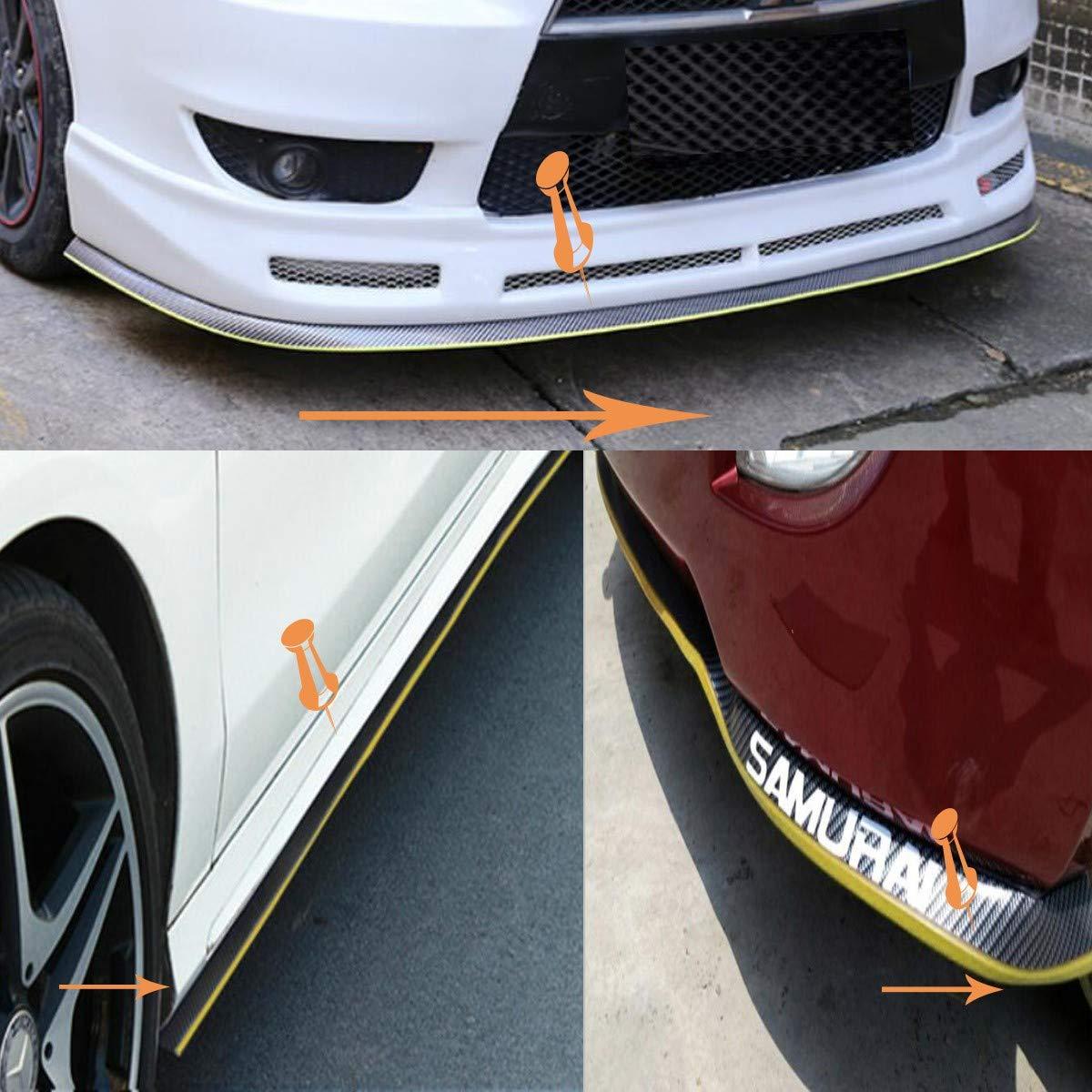 Special Universal Rubber Carbon Fiber Bumper Front Lip;Suitable for Side Skirt Lip Separator 2.5m,Golden Front Bumper Lip Spoiler,100/% Waterproof and Durable ByLucky