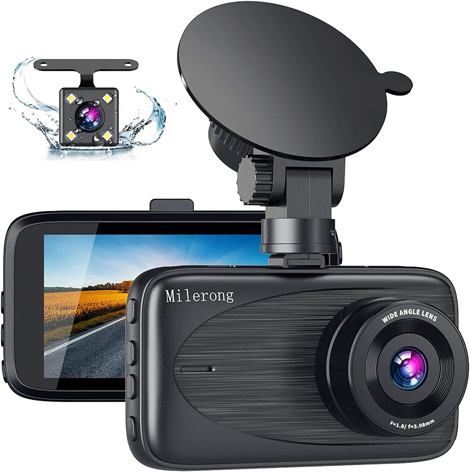 Dual Dash Cam, Milerong 1080P FHD Dash Camera for Cars Front and Rear, 3