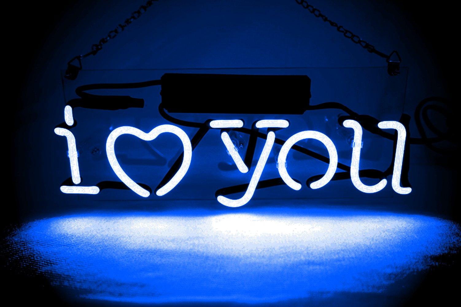 Night Lights Lamp Neon Wall Signs Glass Decorative Lights Handmade Custom for Kids Girls Adults Bedroom Blue I LOVE YOU