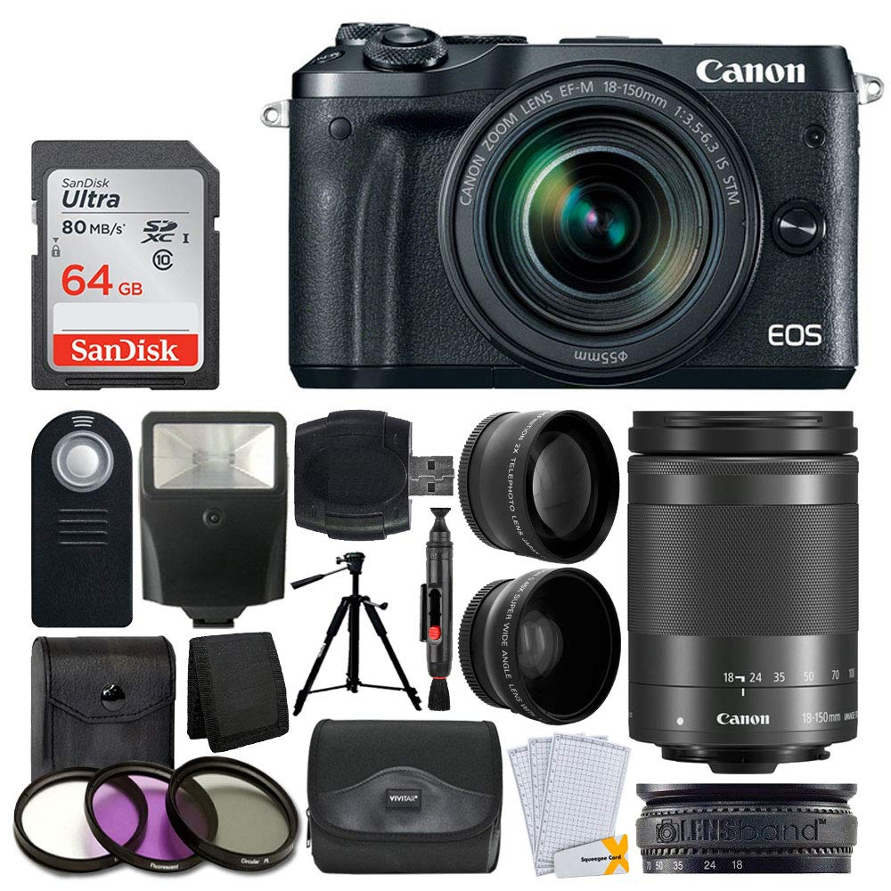 Canon EOS M6 Mirrorless Digital Camera + EF-M 18-150mm f/3.5-6.3 is STM Lens (Graphite) + Wide Angle & Telephoto Lens + 64GB Memory Card + Slave Flash + Wireless Remote + Quality Tripod + Accessories by Photo4Less