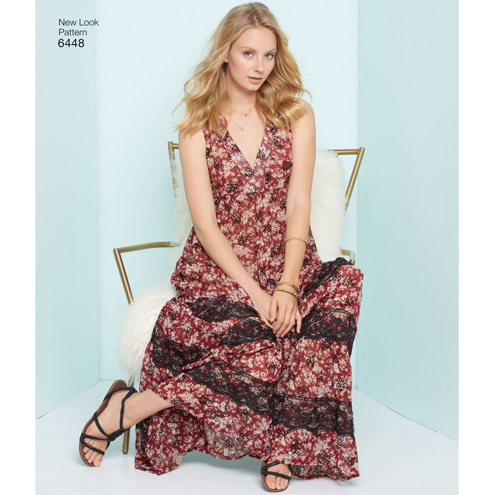 Amazon.com: New Look 6448 Patterns Misses Easy V-Neck Dresses, A (6-8-10-12-14-16-18): Arts, Crafts & Sewing