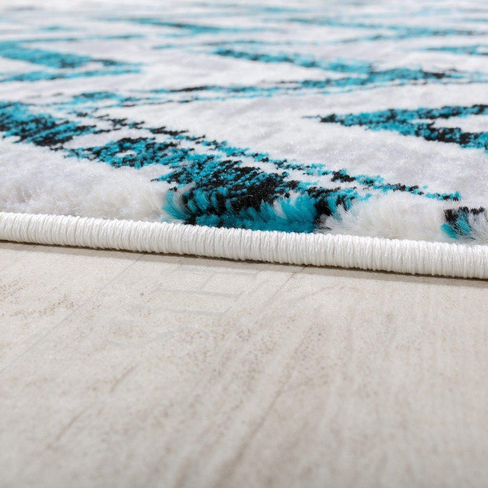 Paco Home Designer Teppich Wohnzimmer Modern Zick Zack Grau Grösse Türkis Creme Meliert, Grösse Grau 160x230 cm 53b3cc