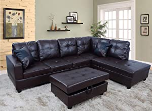 Lifestyle 3-Piece Urbania Right Hand Facing Sectional Sofa Set Living Room Couch