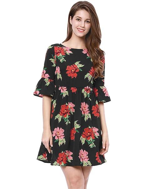Allegra K Vestido De Flores Mangas De Campana Cuello Barco Para Mujer - Negro/XS