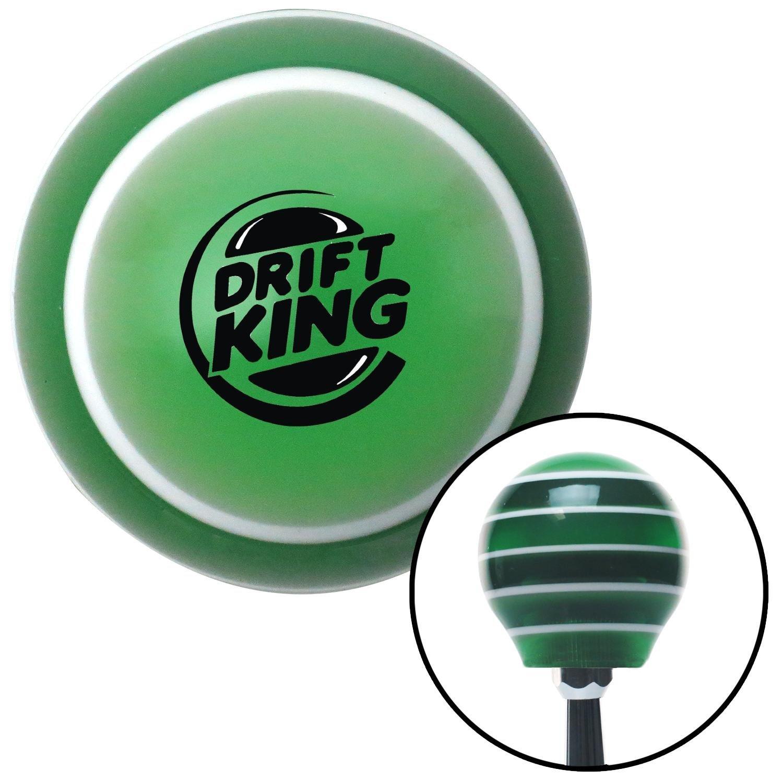 Black Drift King JDM American Shifter 122162 Green Stripe Shift Knob with M16 x 1.5 Insert