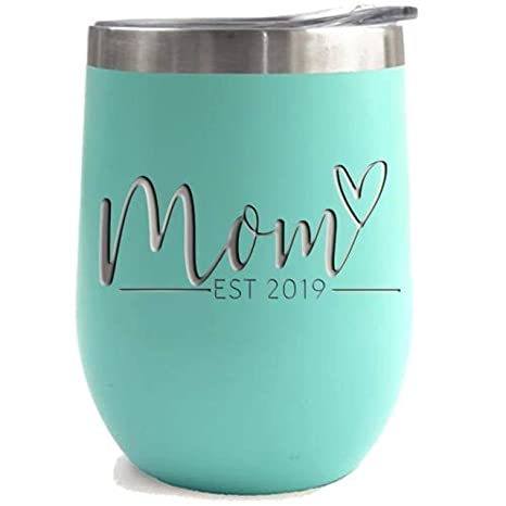 New Mom Gifts Ideas | First Time Mom Est  2019 | Mom to be 12 oz Teal  Stainless Steel Tumbler w/Lid | Mommy w/New Baby Gift | Cute Expecting  Mother to