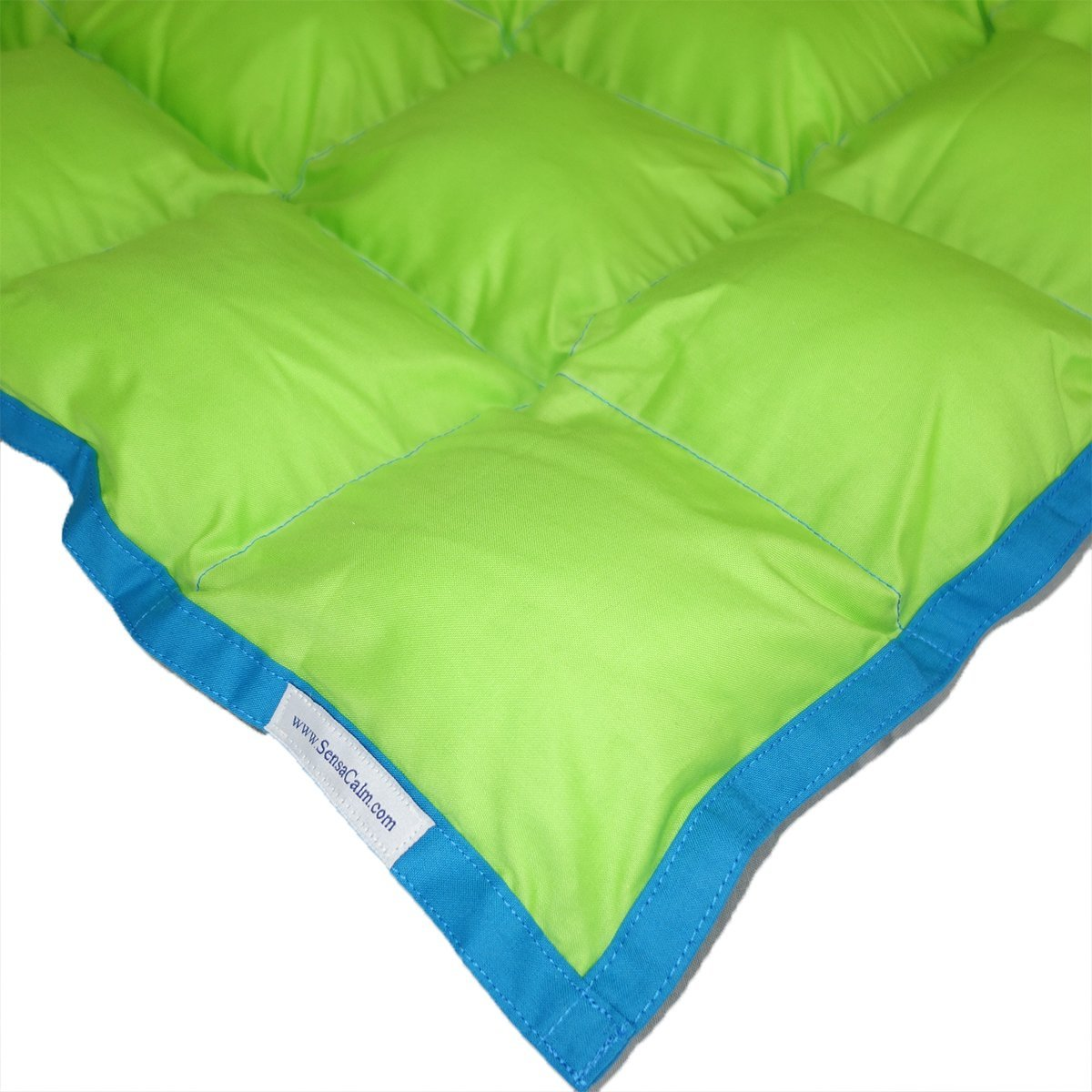 SensaCalm Therapeutic Small Weighted Blanket - Jasmine Green with Teal Blue-8 lb (for 70 lb child)