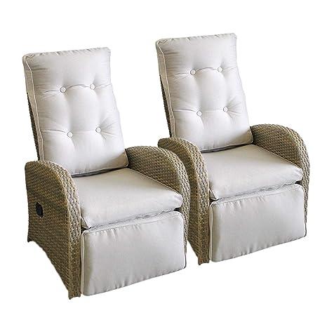 2 pieza ratán Jardín - Sillón de ratán silla Lounge Sillón ...