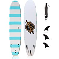 Beginner Surfboard (Soft Top Foam) for Kids, Teenagers & Lightweight Adults-6' & 8' Guppy-with 3 Rounded-Edge Soft-Top…
