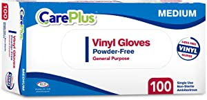 [100 Count] Care Plus Disposable Plastic Vinyl Clear Medium Gloves, Allergy, Latex And Powder Free, Great For Home Kitchen Or Office Cleaning, Cooking, 1 Box
