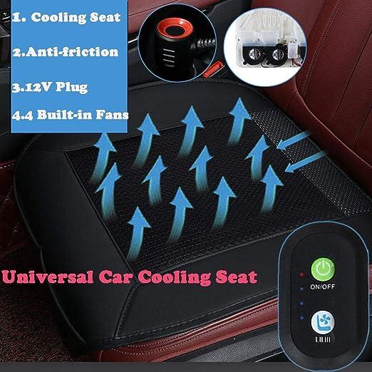 Teabelle Cubierta de Coj/ín del Asiento del Autom/óvil Universal Aire Ventilador Acondicionado Cooler Pad Con 4 Ventiladores Negro