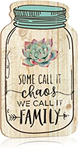 """Putuo Decor Mason Jar Decorative Wood Home Sign Wall Hanging Plaque 8.3""""x4.5 (Some Call It Chaos We Call It Family)"""